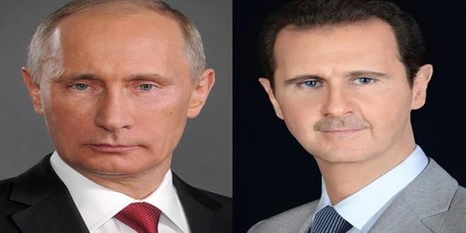 "Photo of الرئيسان الأسد وبوتين يؤكدان في اتصال هاتفي أهمية استمرار محاربة تنظيمي ""داعش"" و""النصرة"" الإرهابيين وغيرهما من التنظيمات الإرهابية"