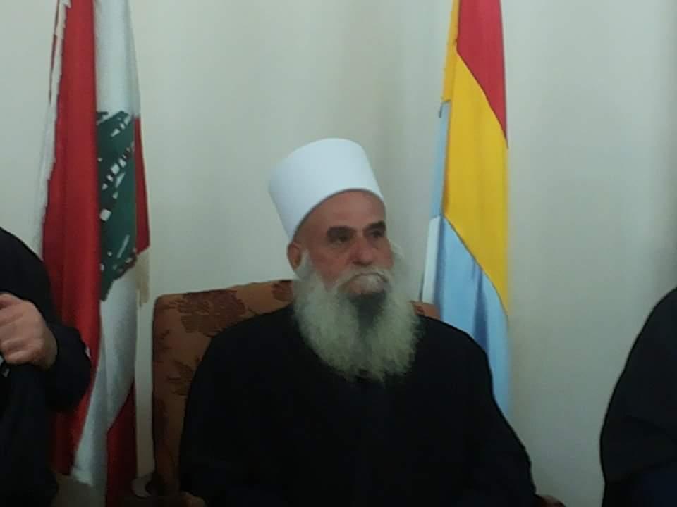 Photo of شيخ عقل طائفة المسلمين الموحدين في لبنان  يتصل بالعميد عصام زهر الدين مطمئن