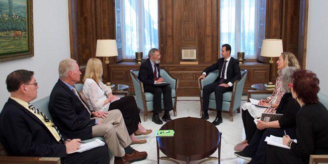 Photo of الأسد يستقبل وفد مجلس السلام الامريكي