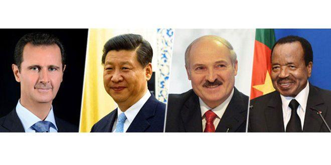 Photo of رؤساء الصين وبيلاروس والكاميرون يهنئون الأسد بالجلاء