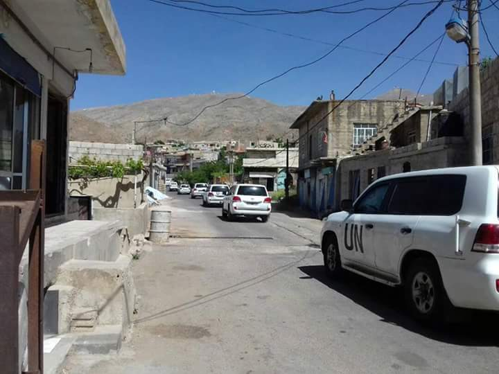"Photo of وفد اممي يزور بلدة ""حضر"""