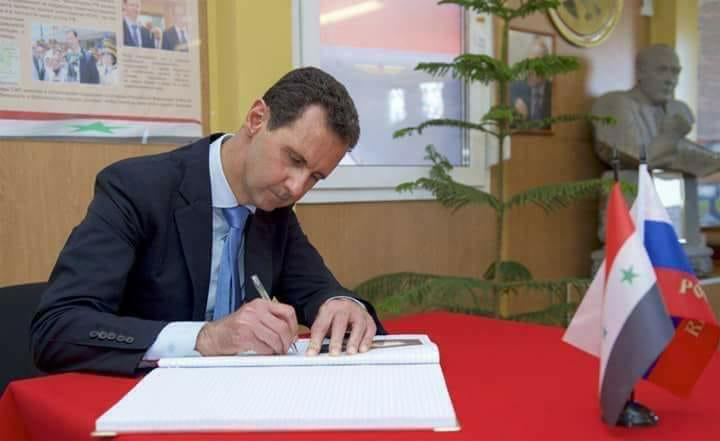 Photo of الأسد يُحييّ المقاتلين الروس وبوتين