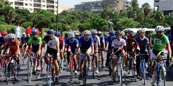 Photo of 200 cyclists ride to New Fairgrounds in preparation for Damascus International Fair