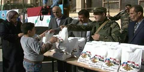 Photo of Humanitarian Aid from Russia distributed among Izra' citizens in Daraa province
