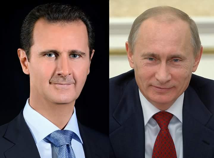 Photo of برقيات تهنئة متبادلة بين الأسد وبوتين بمناسبة حلول عام ٢٠١٨