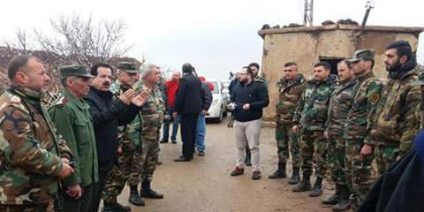 Photo of Honoring one the army's formations at al-Touloul al-Homr in Quneitra