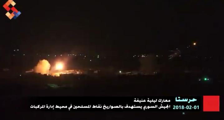 Photo of مشاهد من صليات صواريخ جولان على إرهابيي حرستا مساء أمس