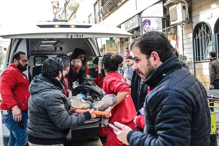 "Photo of كحصيلة أولية "" 11 شهيد بينهم 3 أطفال""  بقذائف إرهابيي الغوطة على دمشق"