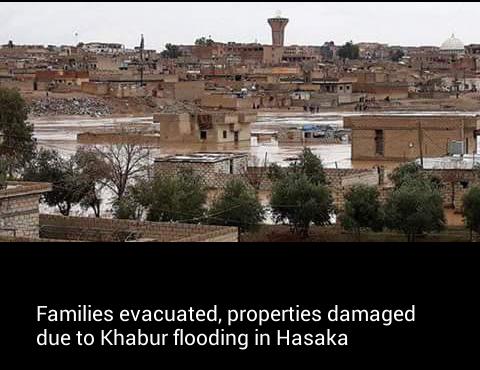 Families evacuated, properties damaged due to Khabur flooding in Hasaka