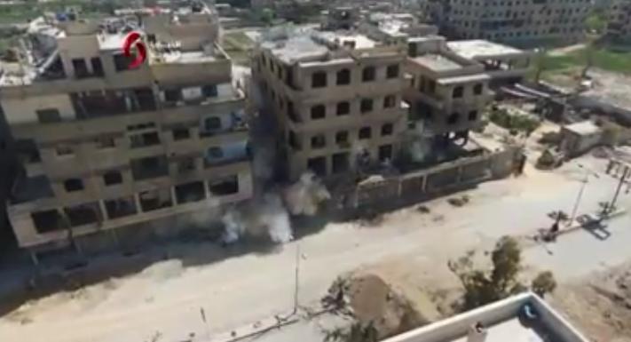 Photo of مشاهد جوية من تفجير شبكة أنفاق في بلدة حزة المحررة
