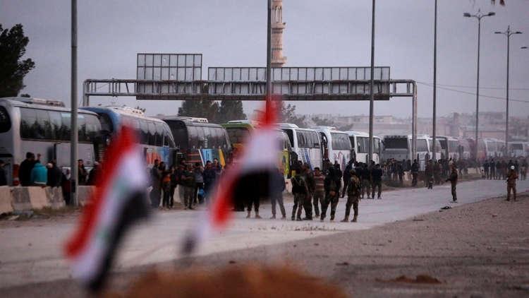 Photo of Evacuation of new batch of militants from Jobar, Zamalka, Ein Tarma and Erbin started