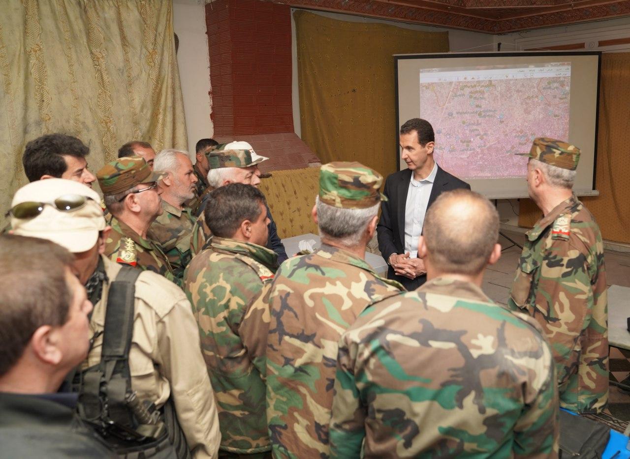 Photo of (فيديو) الأسد داخل غرفة عمليات تحرير الغوطة