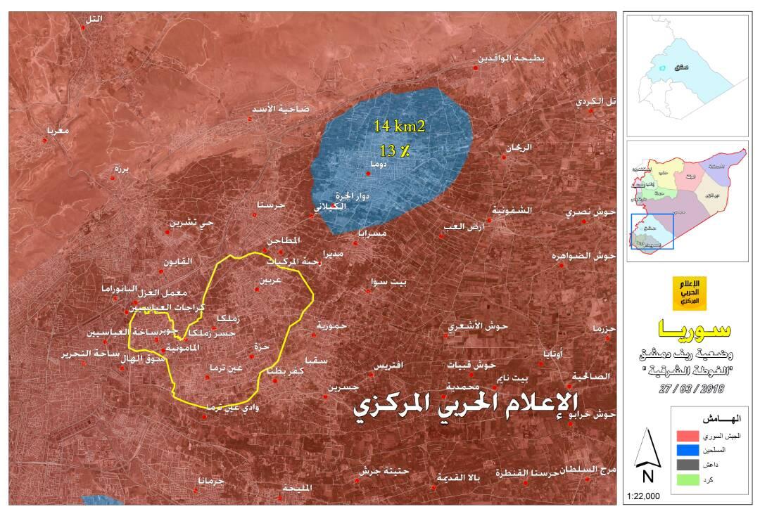 Photo of خريطة الغوطة مع إتمام خروج الإرهابيين إلى ادلب
