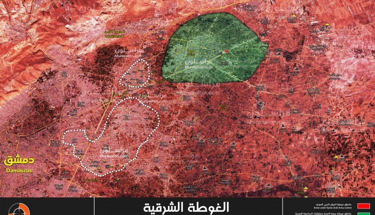 "Photo of خريطة الغوطة بعد النصر واستسلام ""زملكا وجوبر وعربين"""