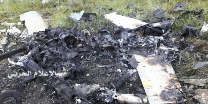 سقوط طائرة تجسس اسرائيلية في بنت جبيل جنوب لبنان
