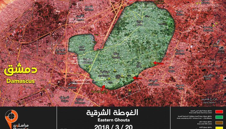 Photo of خريطة – تقدم الجيش بالغوطة الشرقية