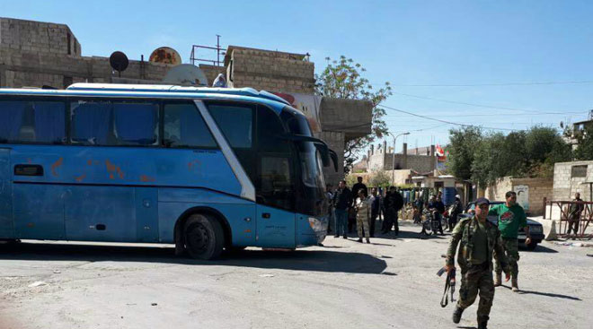 "Photo of Preparations to evacuate second batch of ""Jaish al-Islam"" terrorists from Douma to Jarablos"