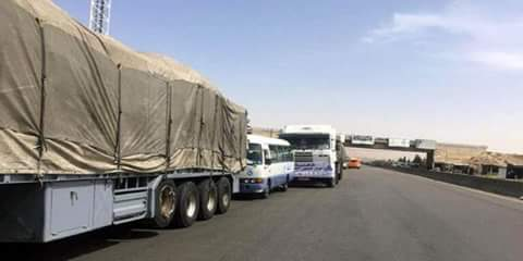 A convoy of food aid heads for Eastern Ghouta