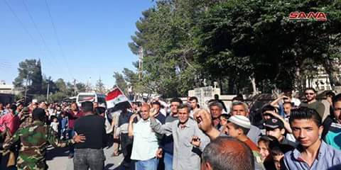 Internal Security Forces units enter Jeroud after moving out terrorists and their families to north of Syria