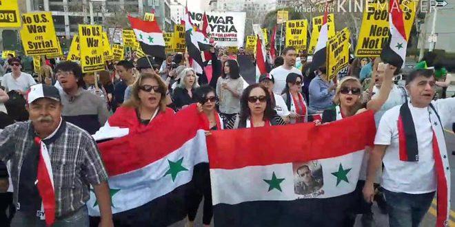 Photo of مظاهرات في لوس أنجلوس وواشنطن ضد العدوان على سوريا