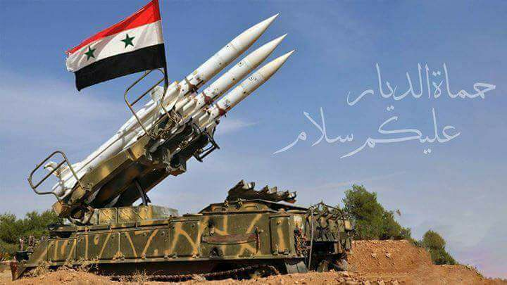 Photo of Syrian Air defense intercepts a missile aggression on one of military airbases in central region