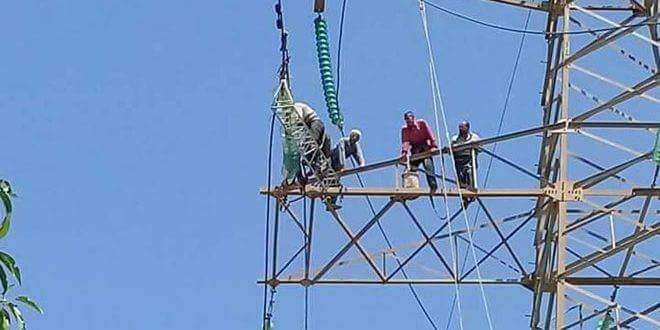 Photo of 80 per cent of damaged Dar al-Kabira power line in Homs repaired