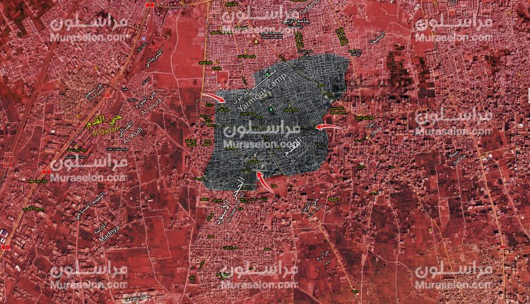 Photo of الجيش يوسع سيطرته غرب مخيم اليرموك ( خريطة )