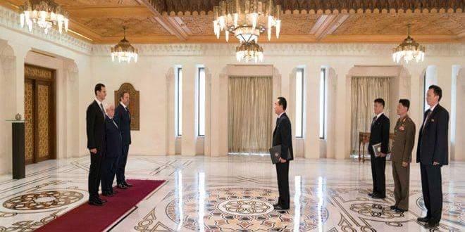 Photo of President al-Assad accepts credentials of new ambassadors of DPRK and Iraq