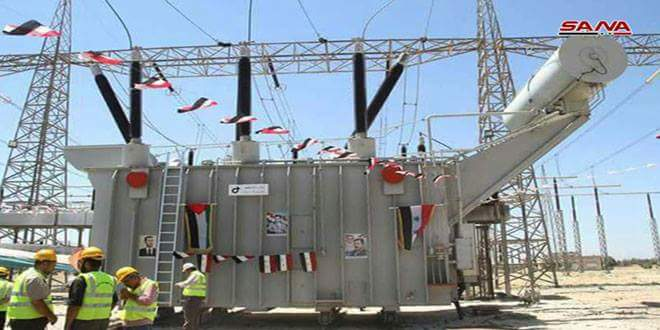 Photo of Tal Qartal power substation and Jandar line put into service in Hama