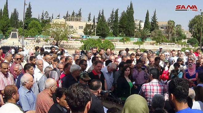 Photo of Popular gathering in Daraa in support of Syrian Arab Army's war against terrorism