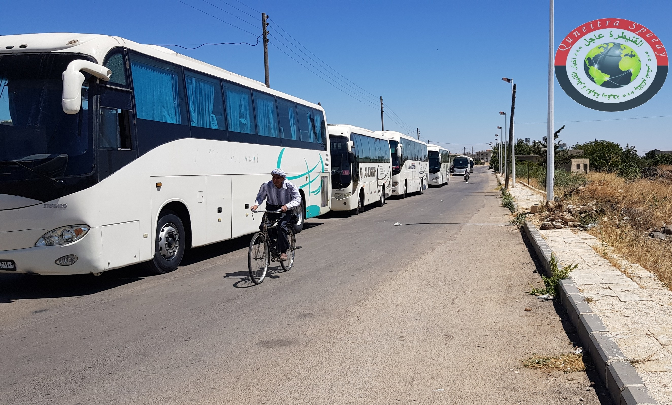 Photo of Buses arrive in Ovania village corridor to evacuate terrorists to northern Syria