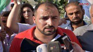 Photo of Wounded captain Ali Hohsen starts walk from Misyaf to Damascus