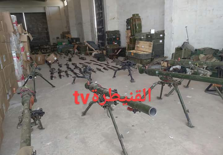 Photo of Weapons, munitions and medicines of terrorists' remnants discovered in Quneitra countryside