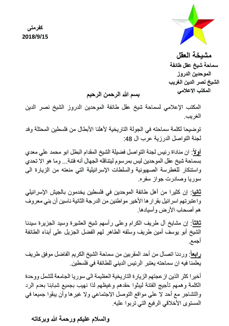 Photo of بيان توضيحي من سماحة  الشيخ نصر الدين الغريب