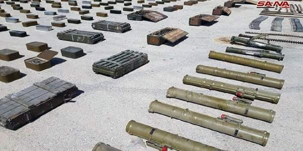 Photo of Weapons and ammo left behind by terrorists in Hama, Sweida and Deir Ezzor discovered