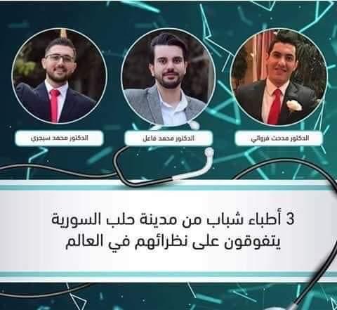 Photo of ثلاثة أطباء سوريون من حلب يحصلون على المرتبة الأولى على مستوى العالم
