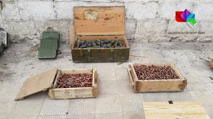 Photo of Weapons and ammo left behind by terrorists found in Homs countryside