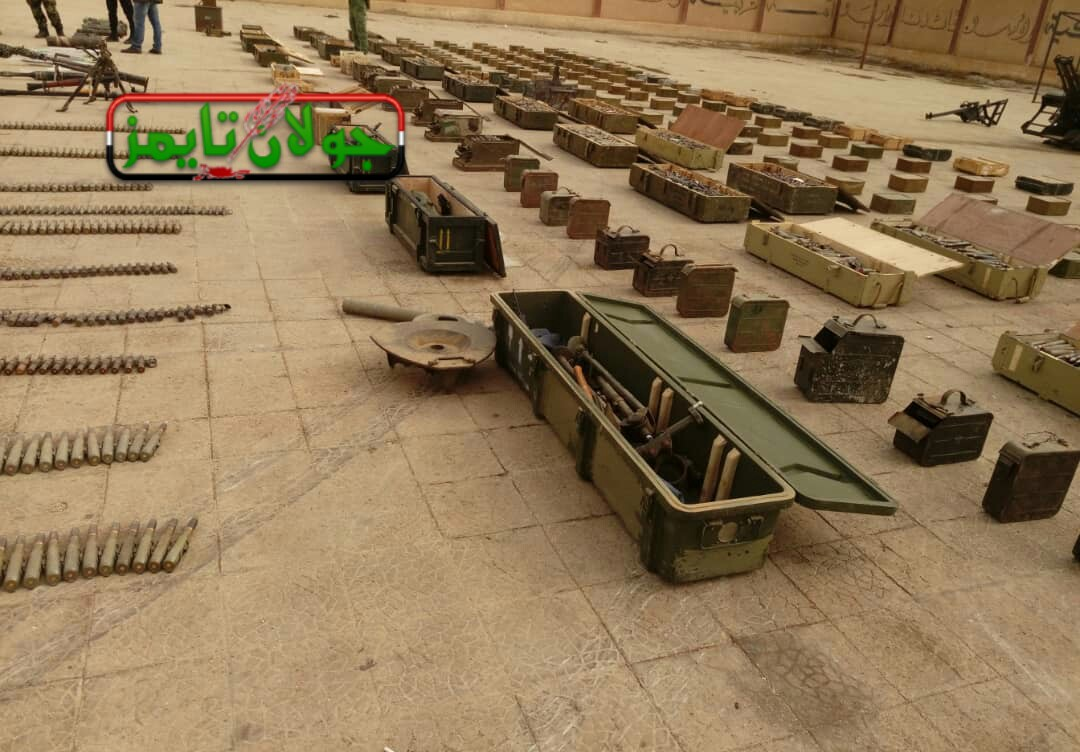 Photo of Weapons, ammunition and medical equipment found in Quneitra and Damascus countryside