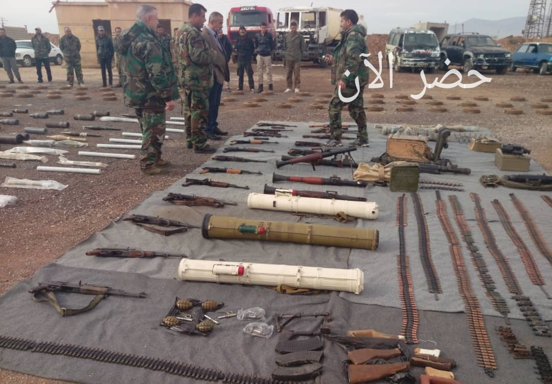 Photo of Weapons, ammo and Israeli-made medicine left behind by terrorists found in Damascus and Quneitra countryside
