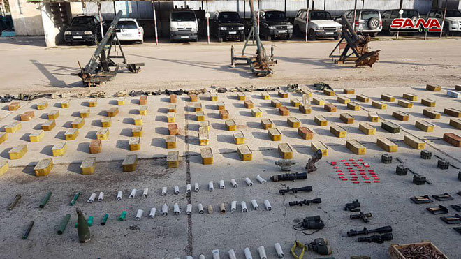 Photo of Authorities find weapons and ammo left behind by terrorists in Homs countryside