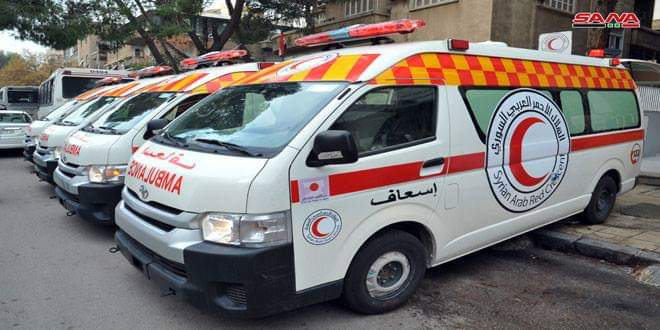 Photo of Sixteen ambulances granted to SARC by Japanese people