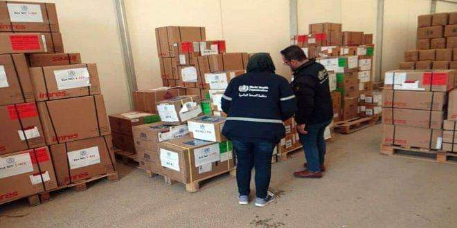 Photo of Twenty tons of medical aid provided by WHO arrive in Qamishli Airport