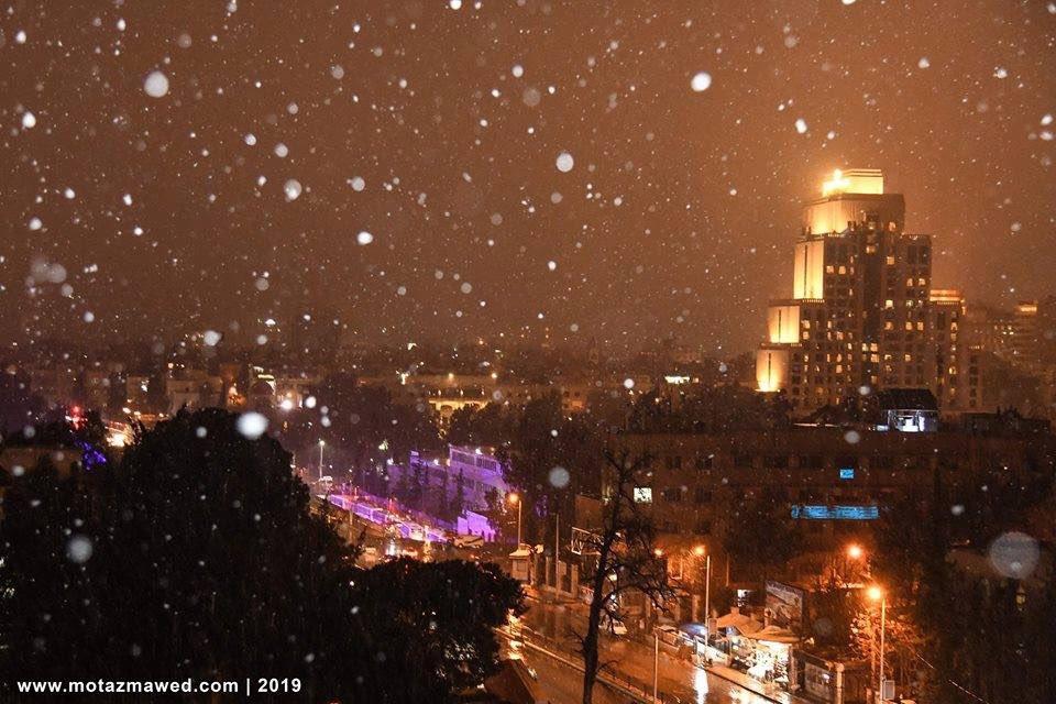 Photo of بالصور- ثلوج دمشق ليلاً
