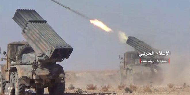 Photo of Syrian Army targeted with artillery fire a terrorist group in Hama