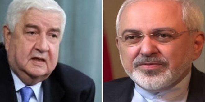 Photo of Al-Moallem receives a phone call from Zarif