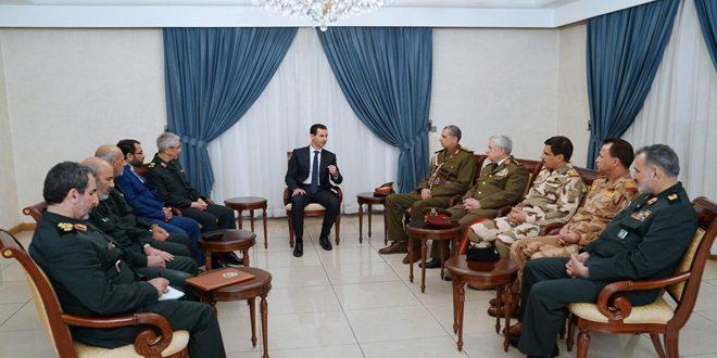 Photo of الرئيس الأسد لوفد عسكري إيراني عراقي مشترك: العلاقة التي تجمع سورية بإيران والعراق متينة