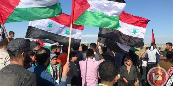 Photo of الفلسطينيون في جمعة (الجولان عربي سوري) يؤكدون وحدة المصير مع الشعب السوري ومواجهة الغطرسة الأمريكية