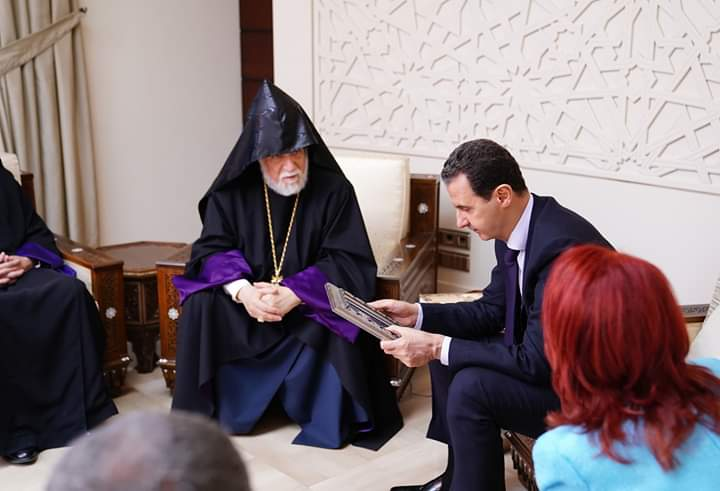 Photo of President al-Assad to Catholicos Aram I: Syria was and always will be the home of all its people, regardless of religion or ethnicity