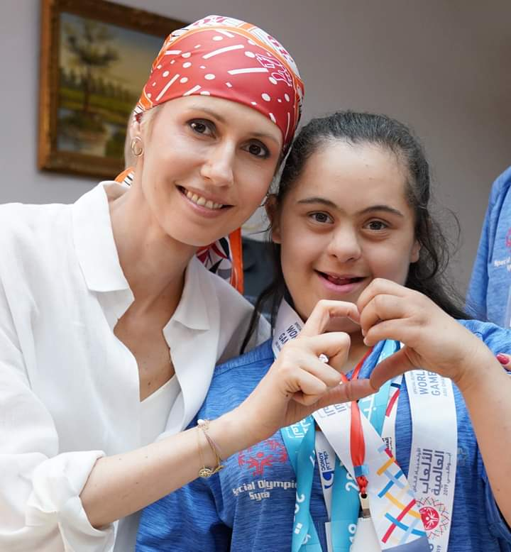 Photo of Mrs. Asma al-Assad meets with champions of the Special Olympiad