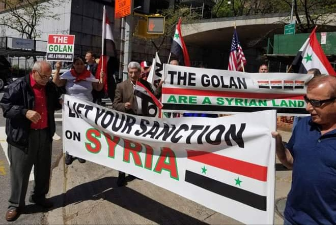Photo of Syrians in the US demonstrate against Trump's declaration on occupied Golan